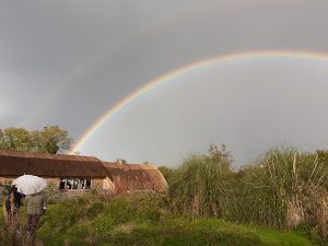 Rainbow on a thatched Roof in Ireland