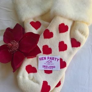 Warm Bed Socks - White with Red Hearts